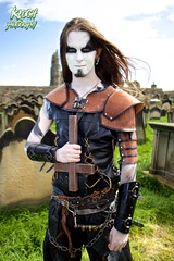 IMG_9401 (Neil Keogh Photography) Tags: red brown white black abbey graveyard leather silver cross gothic goth blouse crucifix axe trousers warrior facepaint viking armour gravestones waistcoat steampunk whitbyabbey whitbygothweekend armguards shoulderguards april2016