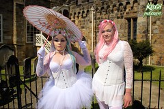 IMG_9320 (Neil Keogh Photography) Tags: pink flowers blue white green abbey graveyard yellow dreadlocks female umbrella fence shoes purple candy boots lace bra gothic goth goggles trainers tattoos gloves corset braids spikes gravestones tutu choker cybergoth whitbyabbey dogcollar fishnettights whitbygothweekend fishnettop april2016
