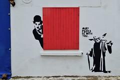the force (s_evil) Tags: blue windows red streetart turkey graffiti starwars colours yoda jedi chaplin bozcaada