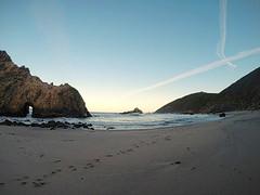 Beach Skyline (sweet.disposition) Tags: ocean california sea beach sunrise sand footprints doorway geology pfeifferbeach rockformation