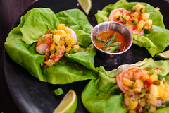Lettuce Wraps - Shrimp, Tropical Fruit Salsa, Sun Sauce - The Dancing Fig (sheryip) Tags: food dancing fig shrimp lettuce foodporn wraps morgantown