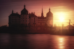 At the end of a day (Explored) (PHTMatrix) Tags: sunset sun castle nature water architecture moritzburg