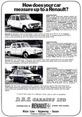 1970 ADVERT D B S GARAGES RENAULT LTD - WATER LANE ANGMERING SUSSEX - RENAULT 6 / 10 / 12 (Midlands Vehicle Photographer.) Tags: b 6 water sussex 10 d s renault lane advert 1970 12 ltd garages angmering