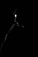 Light portrait (Priti Sehgal) Tags: lighting light portrait bw canon studio 85mm rimlight 18f 550d