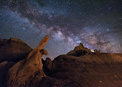 The Bisti Seal (Wayne Pinkston) Tags: longexposure nightphotography sky newmexico night stars star nikon desert galaxy seal astrophotography hoodoo nightsky badlands wilderness cosmos nightscapes milkyway bisti bistibadlands widefieldastrophotography landscapeastrophotography waynepinkston wwwwaynepinkstonphotocom sealhoodoo