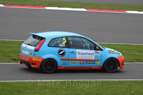 Ben Swift in the BRSCC Fiesta Junior Championship at Silverstone, April 2016