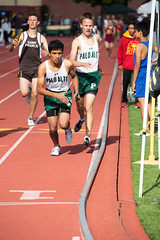 Aashi taking off for the 400m leg (Malcolm Slaney) Tags: track paloalto dmr trackandfield 2016 paly distancemedleyrelay stfrancisinvitational