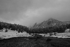 Flatirons 004 (wwwicz) Tags: trees winter sky bw snow storm mountains tree clouds landscape colorado trails boulder trail flatirons rx100