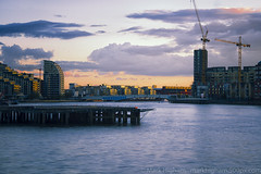 Sands End (singulartalent) Tags: longexposure light sunset london water thames reflections river bluehour streaks