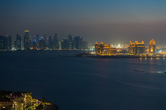 Doha Bay (LucasHE) Tags: longexposure nightphotography blue sea sky water skyline architecture sunrise buildings asia exposure shot nightshot 10 sony towers thepearl 64 iso hour arabia mansion f8 a7 seconds doha qatar stregis qat westbay qtr 2870mm gulfsea thepearlqatar