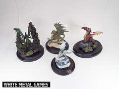 Dragons Wide Shot (whitemetalgames.com) Tags: painting gold miniatures miniature nc dragon display reaper dragons raleigh service commission pewter plinth diorama