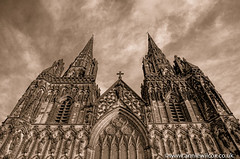 Lichfield Cathedral 3 Ways (anniew69) Tags: blackandwhite bw cloud building texture church monochrome sepia nikon december cross cathedral stainedglass steeple spire hdr highdynamicrange hdri lichfield sepiatoned edifice edifices churchspire placeofworship lichfieldcathedral 2015 photomatix religiousbuilding photographytechnique d7000 anniewilcox wwwanniewilcoxcouk