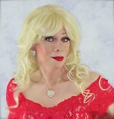 DSC03897 (msdaphnethos) Tags: red heart lace transgender blonde crossdresser daphnethomas