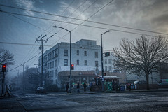 Saturday Morning Ghosts (Michael Guio) Tags: seattle winter fog clouds trafficlight apartment coffeeshop stopsign intersection ghosts capitolhill teriyaki wetpavement