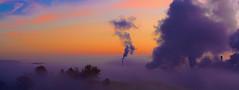 Fog & Smog (ccppllnn) Tags: morning nature fog modern landscape smog smoke stack burning tranquil intrusive