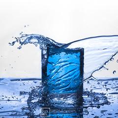 _LR26501 Blue water splash-web (lkralston417) Tags: blue water studio commercial splash product speedlight softbox tabletop offcameraflash lindaralstonphotography