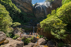 Cooling off at Wentworth Falls (benpearse) Tags: blue summer mountains swimming landscape photography waterfall photographer ben january pass australia off tourists falls wentworth national commercial nsw destination cooling 2016 pearse