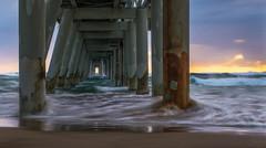 Swirling Sunrise Spit (jenni 101) Tags: beach sunrise pier slowshutterspeed goldcoast softwater 52weekchallange d3300 movementinstillimagesisaparadox