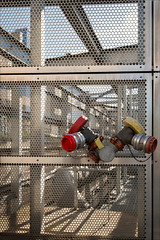 melbourne-8815-ps-w (pw-pix) Tags: red sky yellow silver fire mesh metallic pipes australia melbourne victoria safety equipment frame cbd noentry booster connection aluminium pipework coolingtower enclosure hvac perforatedmetal enclosed federationsquarecarpark