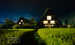 Shirakawa at night (@PAkDocK / www.pakdock.com) Tags: wood city travel viaje blue light sky alps building green beautiful japan architecture night clouds japanese rice angle postcard sony traditional voigtlander go wide totoro fields nippon alp takayama gifu japon 15mm nihon chihiro shirakawago goku shirakawa a6000 a6300 pakdock sonya6000