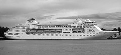 Pacific Pearl White Bay BW (PhillMono) Tags: new cloud white storm black monochrome sepia wales boat dock nikon ship pacific harbour south sydney overcast australia vessel po pearl dslr broadside d7100