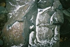Snowy Rocks (Rachael.Robinson) Tags: winter snow canada color film beach 35mm island rocks fujifilm campobello