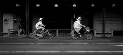 Kyoto Rainy Commute (Daryl O'Hare Photography) Tags: bw japan kyoto bikes streetscenes 50slideshow japan2015