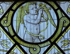 Ely Cathedral - Stained Glass (Glass Angel) Tags: angels stainedglasswindow cherubs musicalinstruments elycathedral roundels niniancomper musicalangel bishopwestschantrychapel musicalcherubs