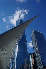 Oculus Wing and Freedom Tower (Takhte-Sarah) Tags: newyorkcity blackandwhite newyork architecture path manhattan worldtradecenter oculus santiagocalatrava freedomtower newyorkarchitecture 1worldtradecenter