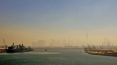 misty skyline ... (miriam ulivi) Tags: sea mist skyline dubai mare skyscrapers ships nebbia navi nikond3200 grattacieli emiratiarabiuniti portoharbor miriamulivi