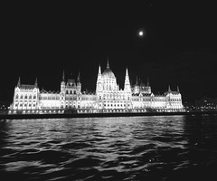 Houses of Parliament ~  Budapest 2016 (Jackie Folds) Tags: budapest hungary houses of parliament danube river night moon panasonic fz72 30faves blackwhite 1000views