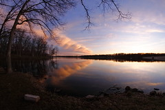 Somebody's Fishing Spot (jpmatth) Tags: cloud lake color reflection water digital canon eos lenstagged illinois fisheye 7d taylorville 2016 rokinon8mm35