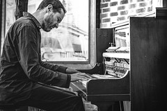 Nottingham City Portraits - The Unexpected Busker (darren.cowley (off and on until June)) Tags: street city nottingham portrait musician music monochrome keys concert play piano player busker tunes unexpected