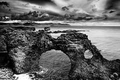 The Gate. (WaSz-Fotograf) Tags: ocean travel sea holiday seascape black tourism beach nature silhouette rock dark landscape coast iceland hexagonal pillar nobody landmark formation coastal coastline column shape basalt icelandic geological reynisfjara reynisdrangar 500px ifttt halsanefhellir
