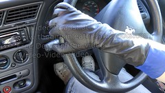 Girl driving in leather gloves (Large) (girl leather pants) Tags: girl car leather long driving gloves stick manual