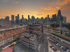(rh89) Tags: city morning sky urban panorama cloud 3 skyline clouds sunrise tooth temple dawn singapore chinatown skies cityscape view angle buddha pano sony wide panoramic stop filter 09 lee nd fe filters scape grad graduated density relic stops neutral 1635 1635mm gnd a7r