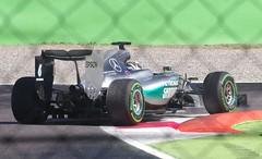 Lewis Hamilton (sfryers) Tags: italy car corner mercedes track italia petronas hamilton lewis sigma f1 racing apo grandprix formulaone hybrid formula1 tyre amg w06 monza chicane pirelli intermediate 70300 fp3 granpremio italiangrandprix openwheel 1456 freepractice cinturato