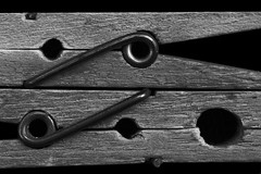 Clothespins (Hylas) Tags: two blackandwhite bw stilllife wow springs minimalism clothespins canon60mmmacro macromondays canon7dmarkii