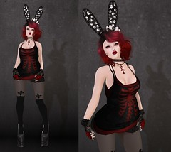 Post #1695 ( =^^=) Tags: red black bunny stockings skeleton skull shoes punk cross mesh body head top emo goth makeup secondlife bow ear jewelery ankh inverted hud choker applier pinkatude