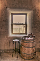The View from Here (gabi-h) Tags: ontario window vintage barrel hobbyhorse stool princeedwardcounty hillier stickhorse gabih localwinery