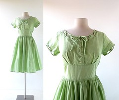 1950s Sap Green cotton dress with rhinestone and stud details (Small Earth Vintage) Tags: green dress cotton 1950s 50s rhinestones womensclothing studded vintageclothing vintagefashion smallearthvintage