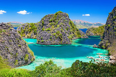 Blue Lagoon (Galeria Zullian & Trompiz) Tags: ocean travel blue sea summer wallpaper sky panorama lake seascape tourism beach nature water beautiful beauty rock horizontal relax landscape thailand island bay boat amazing scenery rocks asia paradise view natural turquoise background horizon philippines scenic peaceful sunny el lagoon cliffs adventure exotic tropical volcanic nido coron palawan russianfederation busuanga kayangan