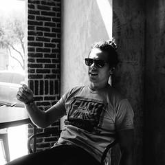 Jonny (BurlapZack) Tags: portrait bw monochrome sunglasses mono downtown bokeh lounge shades casual local musicfestival thesquare fuckyeah pack06 dentontx squae manbun vscofilm 35denton olympusmzuiko17mmf18 olympusomdem5markii westoakcoffee