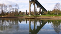 Untitled (photobits_preeti) Tags: park bridge trees sky reflection green nature water colors look clouds canon high earth ripple low deep powershot colourful