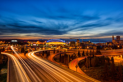 Seattle sunset (saurabh.shankar) Tags: seattle city longexposure sunset sky cloud building skyline architecture night traffic dusk citylife structure trail infrastructure emeraldcity traffictrails aftersunset seattledowntown joserizalbridge buildingstructure cityexploration