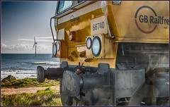 Coast to Coast (Blaydon52C) Tags: sea beach windmill yellow sarah coast sand gm waves transport shed rail railway trains northumberland locomotive northeast railways turbine aluminium cambois blyth alumina class66 gbrailfreight railfreight northblyth gbrf 66740 blythandtyne 6s45