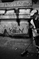 Dancing Without a Partner (stimpsonjake) Tags: city blackandwhite bw monochrome work graffiti candid streetphotography highcontrast dirty romania bucharest streetsweeper 185mm nikoncoolpixa