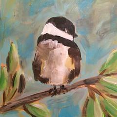 Little Chickadee (Art by Trish Jones (theOldPostRoad)) Tags: road old original tree bird art birds painting jones spring post trish chickadee whimsical chickadees