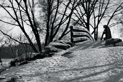 Snow Bridge (K.G.Hawes) Tags: wood bridge trees winter shadow blackandwhite bw white lake snow black cold tree ice creek frozen wooden pond stream shadows snowy freezing iced icy