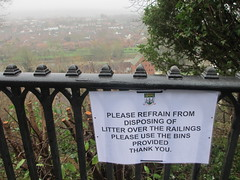 Please refrain from disposing of litter over the railings. Please use the bins provided (eltpics) Tags: uk england sign formal polite request bridgnorth eltpics
